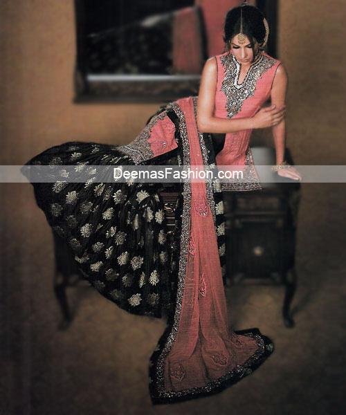 Latest Pakistani Bridal Wear Pink Black Gharara