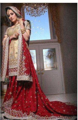 Pakistani Fashion Clothes - Red & Beige Lehnga