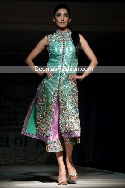 Pakistani Latest Fashion - Ferozi Green Mauve Formal Dress