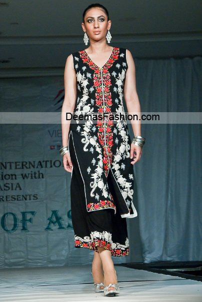 Pakistani fashion Dress - Black Red Party Wear