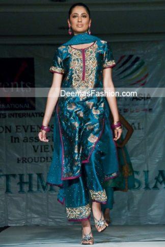 Latest Pakistani Formal Wear - Turquoise Blue Dress
