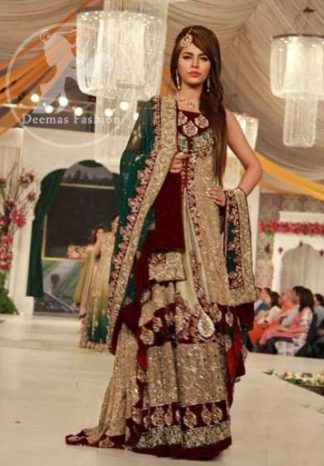 Fawn Front Open Back Trail Gown - Embroidered Lehenga - Bottle Green Dupatta