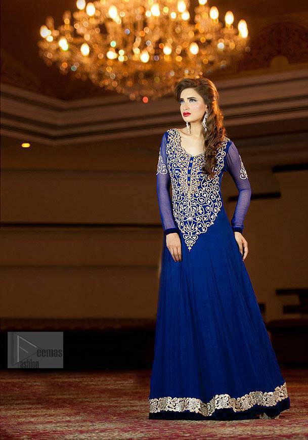 Royal Blue pure chiffon frock embellished with silver and light gold zardozi work which includes stones, kora and dabka mostly.