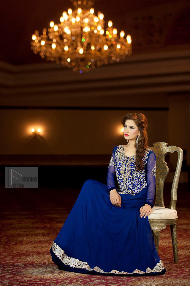 Royal Blue pure chiffon frock embellished. This beautiful party wear comes with churidar pajama.