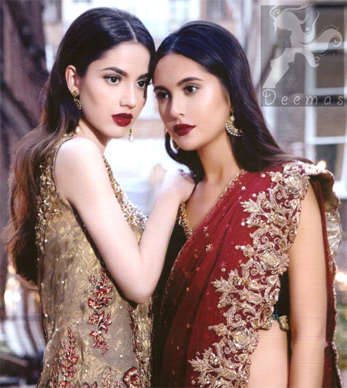 Bridal Collection 2016 Black Velvet Blouse With Fawn Embroidered Skirt And Deep Red Dupatta