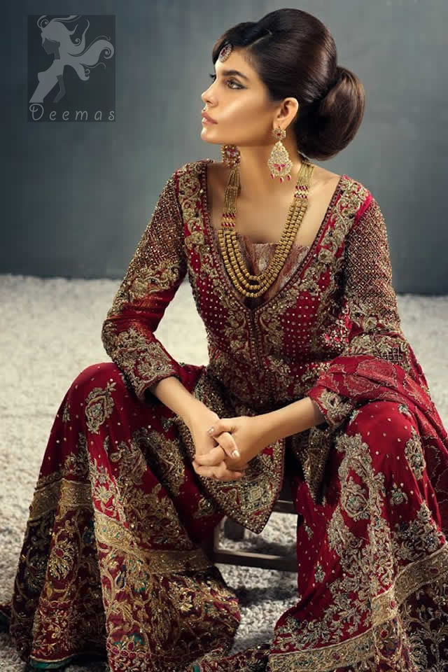 Latest Deep Red Heavy Bridal Barat Occasion Shirt having Sharara and Dupatta