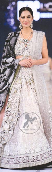 Latest Bridal Wear Ivory White Blouse & Lehenga and Embroidered Dupatta 2016