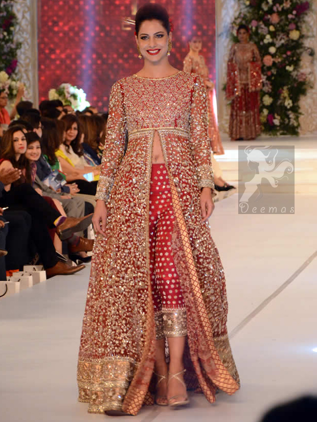 Bright Red Fully Embroidered Bridal Gown 2016 With Capri Pants