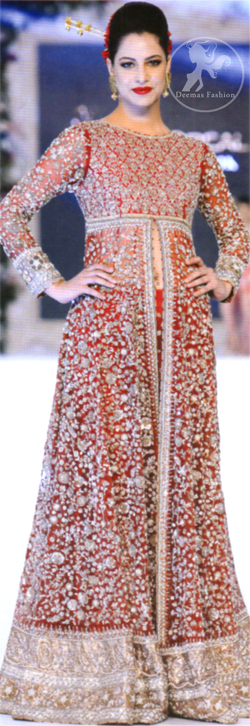 Latest Bright Red Fully Embroidered Bridal Gown 2016 With Capri Pants