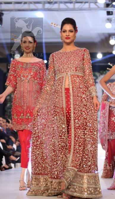 Bright Red Gown Embellished with Silver Embroidery for Brides with Capri Pants