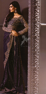 Designer Wear Saree - Dark Purple Embroidered Saree