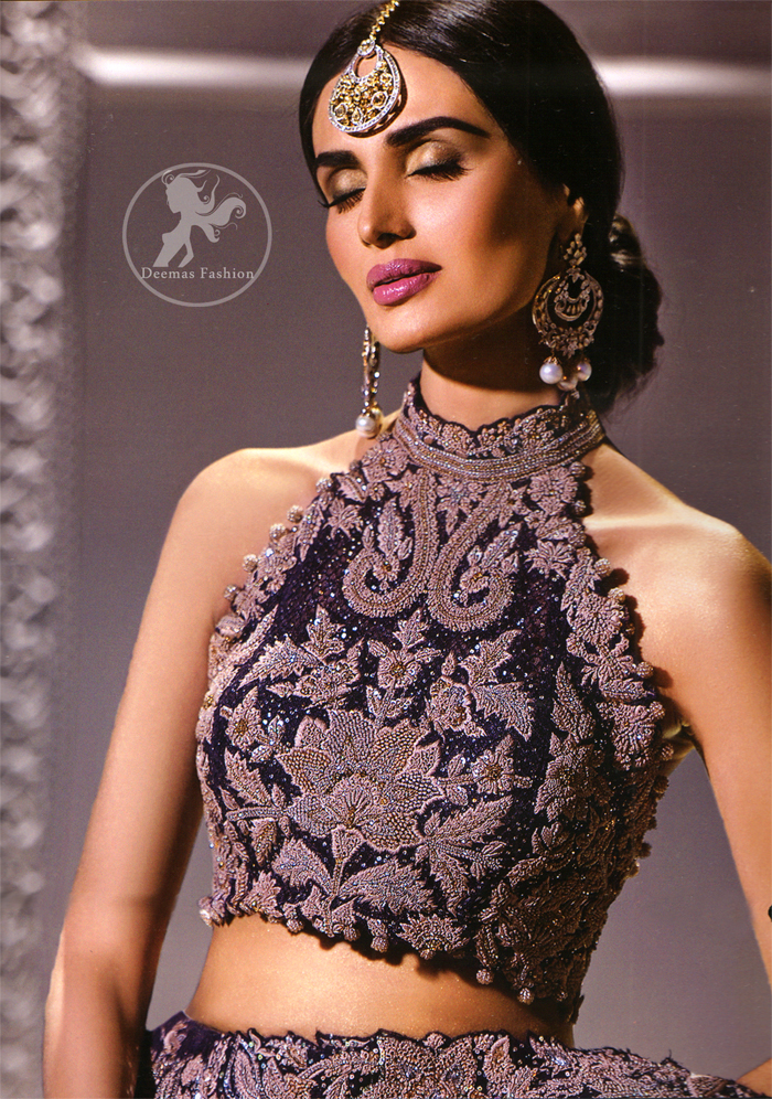 Dark Purple Bridal Blouse Lehenga Embroidered Dupatta
