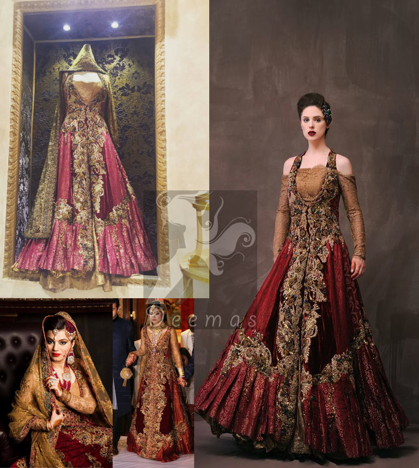 Deep Red Golden Double Layer Front Open Dress
