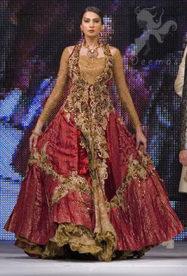 Latest Designer Wear Deep Red and Golden Double Layer Front Open Long Bridal Dress