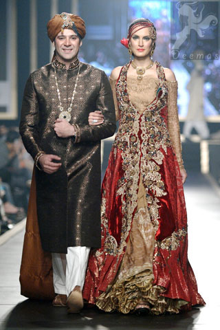 Golden and Deep Red Double Layer Front Open Long Bridal Wear