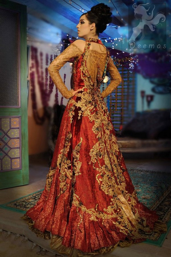 Latest Pakistani Golden and Deep Red Double Layer Front Open Long Bridal Wear 2016