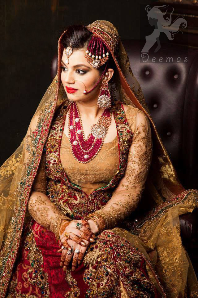 Designer Collection Deep Red and Golden Double Layer Front Open Long Dress