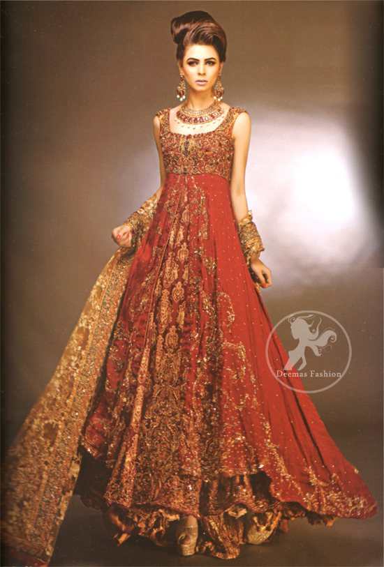 Red Double Layer Front Open Heavy Bridal Gown With Golden Sharara