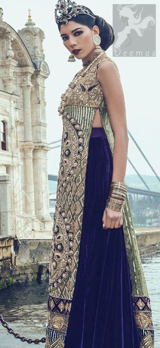 Mehndi Green Long Shirt - Dark Purple Back Trail Lehenga