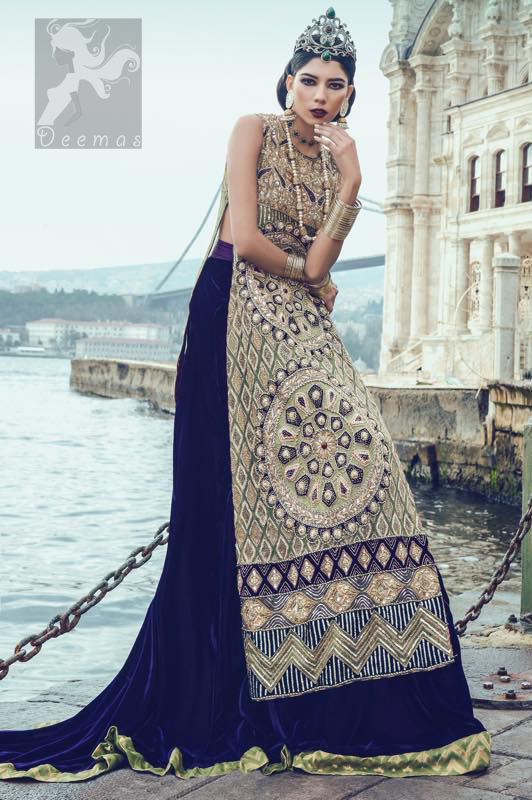 Green Long Shirt with Dark Purple Back Trail Lehenga