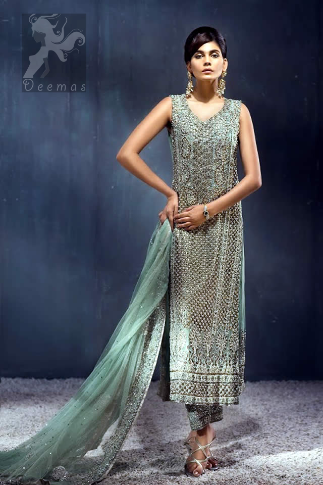 Pistachio Green Shirt - Straight Embroidered Pants - Heavy Dupatta for Formal Occasion