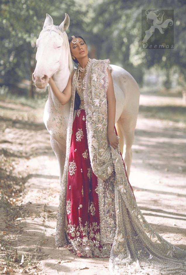 Latest Designer Wear Ivory Bridal Blouse Gown and Dupatta with Deep Red Lehenga