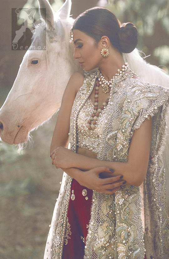 Latest Designer Wear Ivory White Bridal Blouse with Gown, Dupatta and Deep Red Lehenga