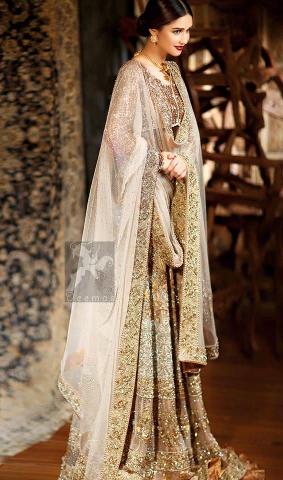 Bridal Embroidered Dupatta with Ivory White Fawn Blouse and Lehenga