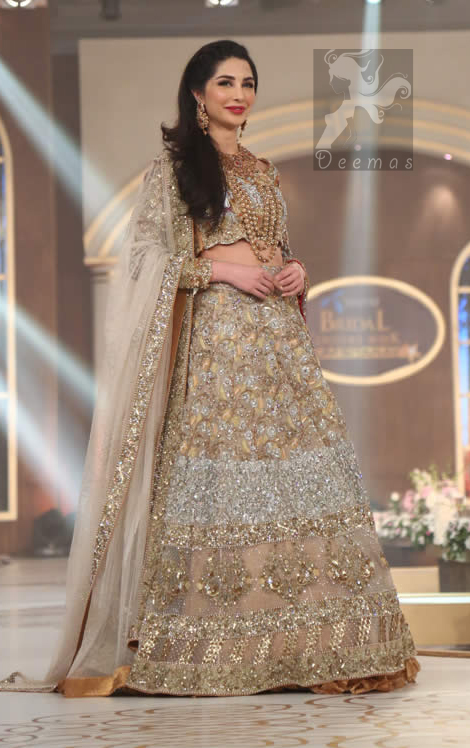 Bridal Embroidered Dupatta with Ivory White Fawn Blouse and Lehenga on the Ramp