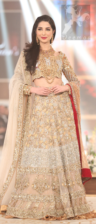 Bridal Embroidered Dupatta with Ivory White Fawn Blouse and Lehenga during Fashion Show