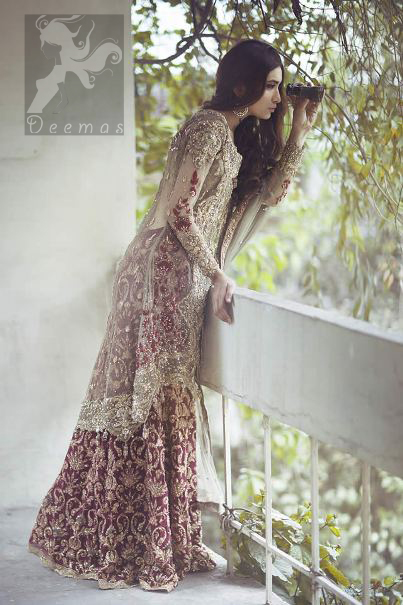 Beige Front Open Back Trail Gown - Deep Red Banarsi Skirt