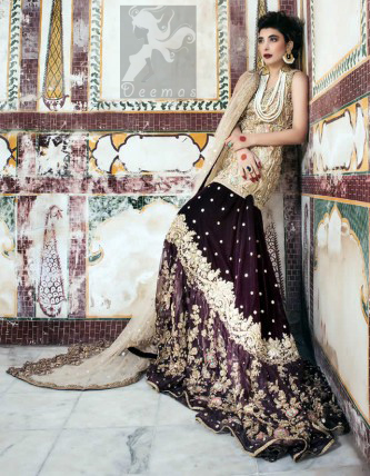 Latest Bridal Wear 2016 Light Golden Short Shirt and Dupatta With Two Tone Back Trail Lehenga