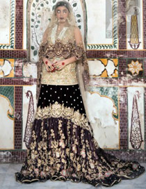 Latest Bridal Wear 2016 Light Golden Short Shirt with Dupatta and Two Tone Back Trail Lehenga