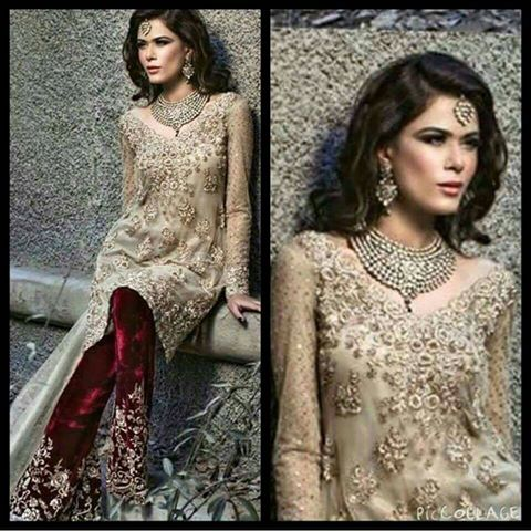 Latest Formal Wear 2016 Light Golden Shirt With Deep Red Velvet Embroidered Trouser With Organza Dupatta