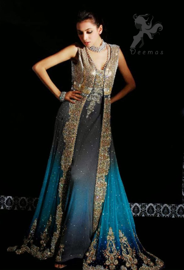 Latest Formal Wear Triple Tone Front Open Gown 2016