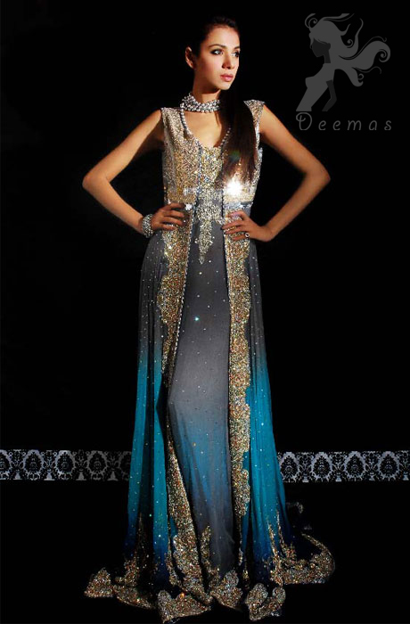 Latest Triple Tone Front Open Gown for Formal Occasions