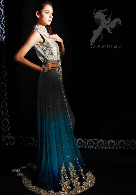 Latest Triple Tone Front Open Gown for Formal Occasions 2016