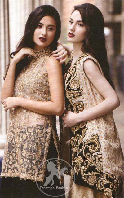 Black Jacket having Golden Embroidery with Banarsi Blouse and Lehenga