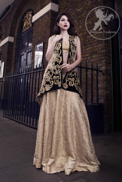 Black Jacket having Golden Embroidery with Banarsi Blouse and Lehenga