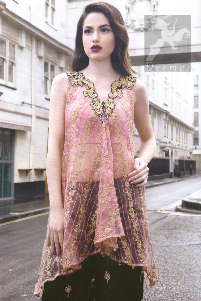 Latest Pakistani Party Wear Pink Shirt & Embroidered Sharara