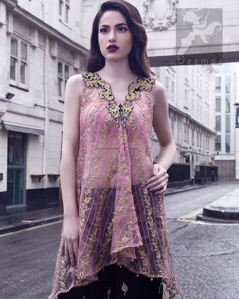 Latest Pakistani Pink Party Wear Shirt & Embroidered Sharara 2016