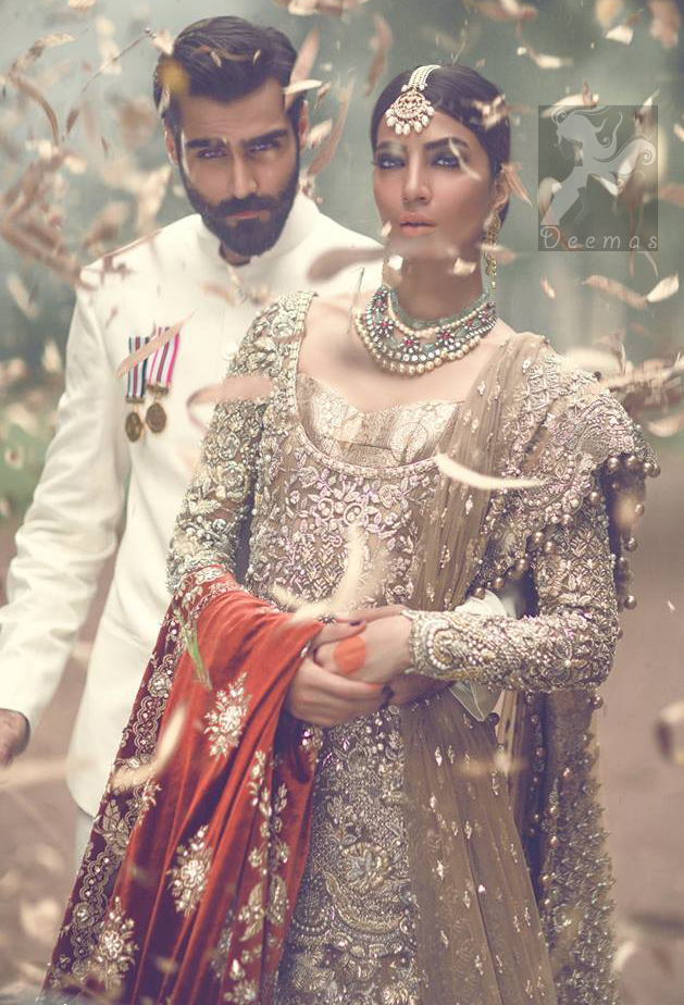 Latest Pakistani Light Brown Fully Embroidered Bridal Shirt with Lehnga and Dupatta 2016