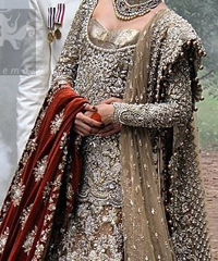 Light Brown Fully Embroidered Bridal Shirt Lehnga and Dupatta