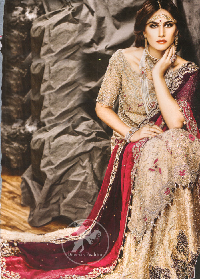 Light Fawn Bridal Wear Long Shirt Lehenga and Deep Red Dupatta