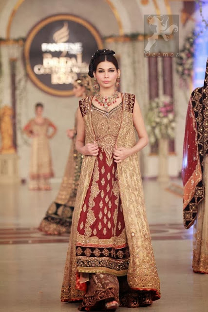 Designer Wear Maroon Fawn Bridal Gown and Sharara
