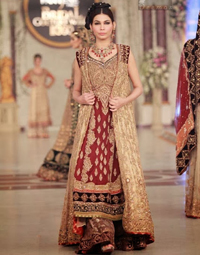 Designer Wear Dress – Deep Red Fawn Bridal Gown – Sharara