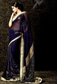 Navy Blue Designer Wear Saree