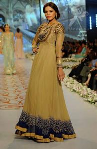 Pakistani Designer Wear Fawn Royal Blue Party Wear Maxi 2016