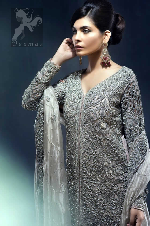 Latest Pakistani Silver Grey Front Open Gown with Lehenga and Organza Dupatta