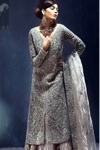 Silver Grey Front Open Gown – Organza Dupatta & Lehenga